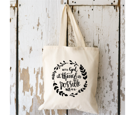 """Tote bag """"With God"""""""